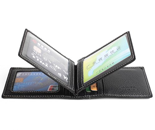 VRLEGEND Ausweishülle Kreditkarten Tasche Portemonnaie Etui Visitenkarten Kartenetui Geldbörsen Etui (Schwarz) (Geldbörse Credit)