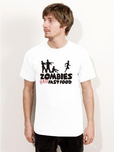 BIGTIME.de Herren T-Shirt Halloween Zombies HATE fast food Fun Shirt weiss H19- Größe L