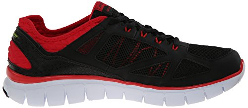 Skechers Flex-Life Force, Baskets Basses Homme Noir (black/red Bkrd)