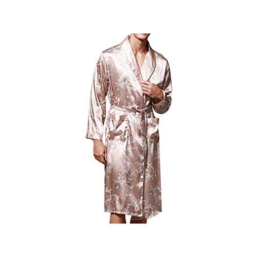 Zhaohuapu Robe Sexy Lingerie Men Simulation Silk Pyjamas Wäsche-Mode-Druck-Langarm Langer Schlaf Pants Set Babydoll, Beige, XXXL - Charmeuse Babydoll Set
