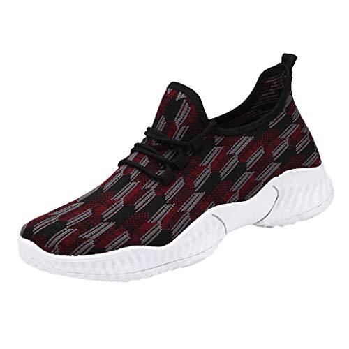 e Gewebtem Mesh Atmungsaktive Herren SneakersLässige Lace-Up Elastische Laufschuhe Fitness-Turnschuhe(Rot,44) ()