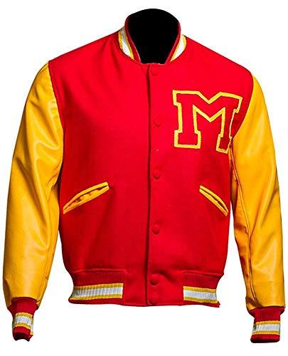 MJ Thriller Michael Jackson Rot M Logo Varsity Letterman Varsity Bomberjacke (XXS)