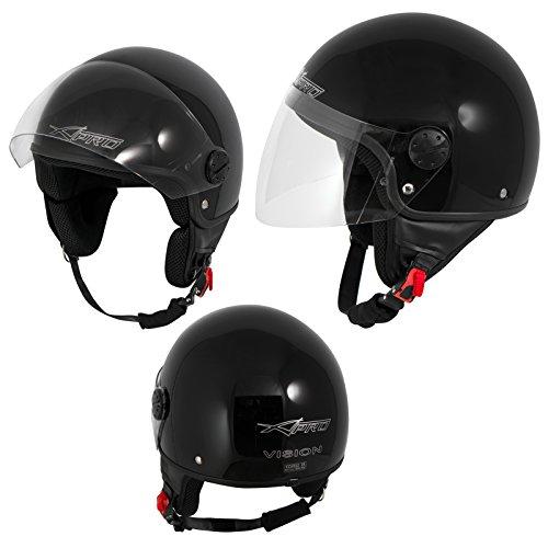 A-Pro Motorradhelm Motorrad Roller Jet Helm Demi Mit Viser Schwarz M