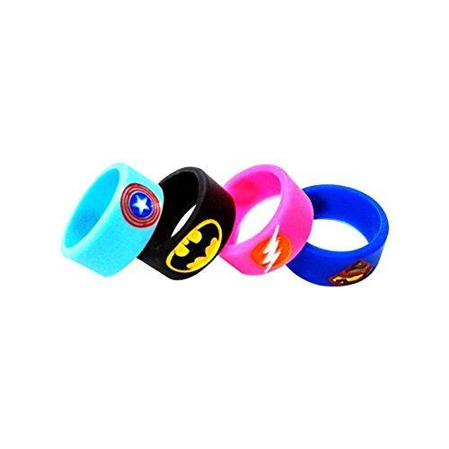 Vape Band Rings, Silikon Superhero Bands für Tank, E-Zigarette Bands für RTA RDA Zerstäuber, Non-slip Ring, Schutzring, 4 Stück