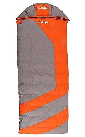GeerTop? Super Warm -59¨H to -41¨H Down Envelope Sleeping Bag With Vacuum Bag (Orange)