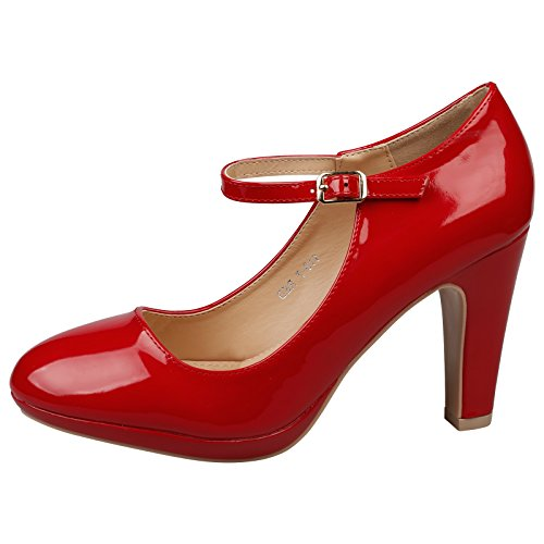 ByPublicDemand Emmeline Womens High Heel Classic Mary Jane Shoes (UK 5, Red Patent)