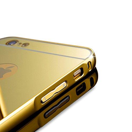 iPhone 6/iPhone 6S 4.7 Specchio Cover,BtDuck Ultra Sottile Placcatura in alluminio Metallo di lusso Moda Specchio Riflessione Bling Antiurto Custodia Cover per iPhone 6/iPhone 6S 4.7 Trucco Specchio G Grigio Argento
