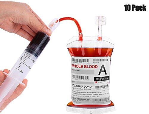 (Kyerivs 10 Stück Blutbeutel Zum Befüllen Blutbeutel IV Taschen Getränkebehälter mit Clips, Blutart Aufkleber und 1 Stück Fast Füllen Spritze für Halloween Cosplay Zombie Party)