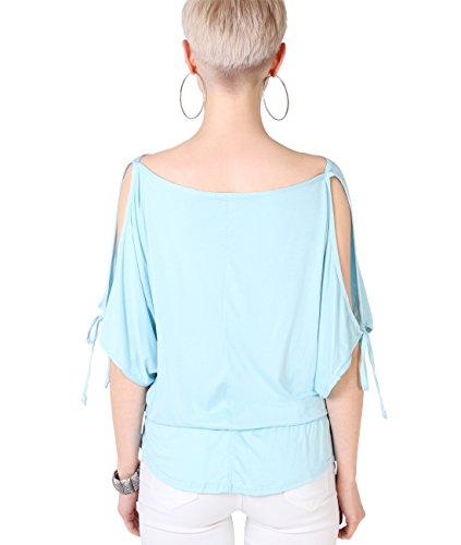 KRISP® Femmess Top Ample Uni Manches Chauve Souris Style Des Années 80 Aqua