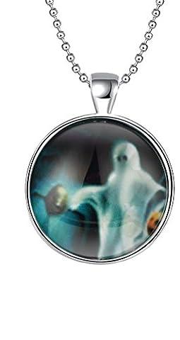 sunifsnow femmes Monnaie rond crâne de fantôme Halloween Gifts Collier fluorescence
