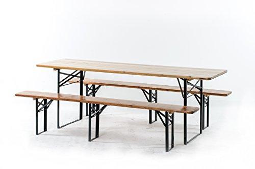Xone set birreria tavolo 220x70cm e due panche 220x25cm con gambe pieghevoli per feste giardino e sagre | set birreria legno spessorato 3cm tavolo + panche a 3 gambe
