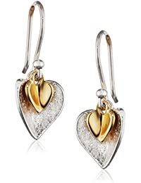 Elements Silver Gold Plated Double Heart Sterling Silver Earrings of Length 2.5 cm