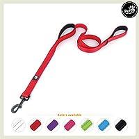 [Gesponsert]Pets&Partner Hundeleine aus Nylon mit 2 Griffen in verschiedenen Farben für mittel große und große Hunde passend zu Halsband und Geschirr, Rot
