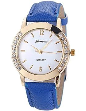 ★ Loveso ★-Armbanduhr elegant Genf Art und Weise Frauen-Diamant analoge lederne Quarz-Armbanduhr Uhren_Blau