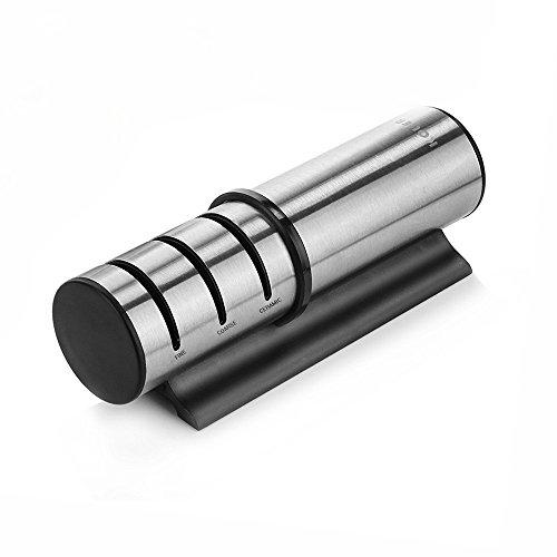 KOLIER Messerschärfer, 3 Stufen Edelstahl Messerschleifer, Manueller Knife Sharpener Diamant beschichtetes Schleifsystem für Küchenmesser