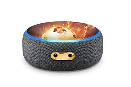 Skins4u Aufkleber Design Schutzfolie Sticker kompatibel mit Amazon Echo Dot 3.Generation Brennender Fussball