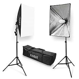 ESDDI Professionale Softbox Illuminazione 700W Lampade 2(50x70cm) Softbox Kit Luce Continua 5500K Luci Fotografiche per Studio Fotografico,Fotografia di Prodotti e Ripresa di Video