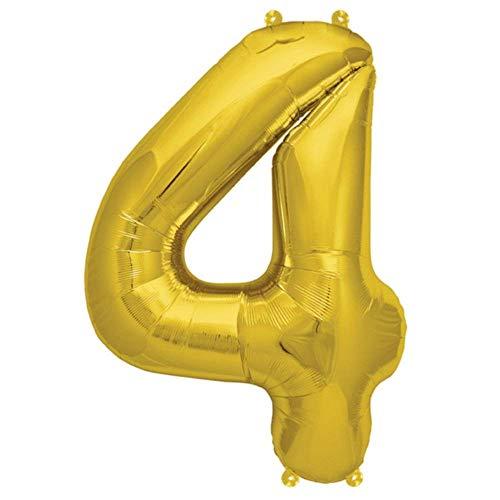 Folienballon Gelb-Gold | Zahl 4 | Ballon für Luft und Helium | XL 70 x 15 cm | Geburtstag Hochzeitstag Jubiläum Geschenk Abschluss Party Überraschung