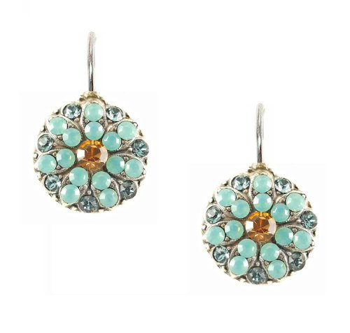 af42a62c36a19 Mariana Antique Silver Plated Swarovski Crystal Flower Drop Earrings