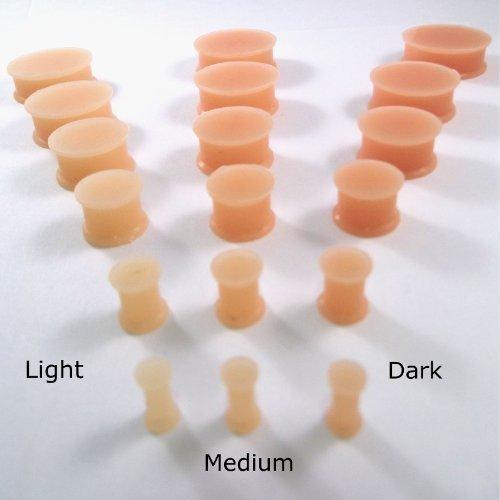 Dctattoo Paar Silikon Flexi Haut Schatten Ohr Hider Tunnel Plugs - Wähle Farbton & Größe - medium, 10mm