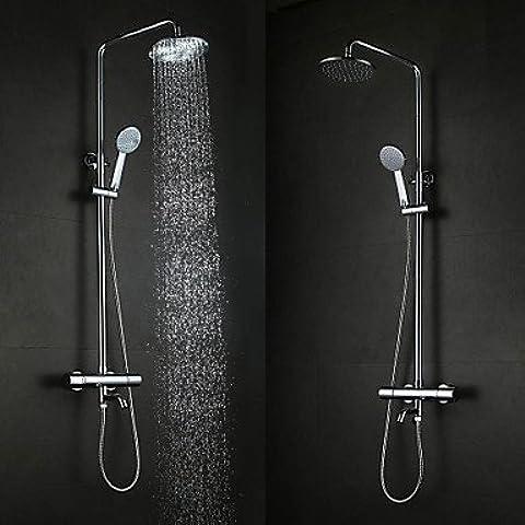 SHUIU Contemporáneo moda colgante de pared tipo latón cromo 38 ° c ducha termostática inteligente grifos Set - plata