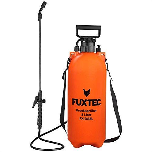 FUXTEC Drucksprüher FX-DS8L, zur Anwendung aller Sprüharbeiten im Garten, Düngung und Unkraut - & Schädlingsbekämpfung, 8 Liter Tank inkl Tragegurt, geringes Gewicht von 1,76kg, Betriebsdruck 2,5 bar