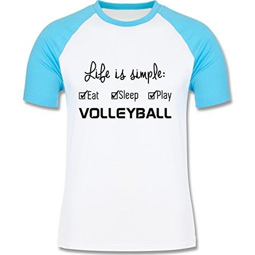 Shirtracer Volleyball Life is Simple Volleyball Herren Baseball Shirt  Weiß/Türkis