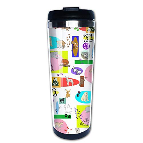Baby Animal Blocks Multi Insulated Stainless Steel Travel Mug 14 oz Classic Lowball Tumbler with Flip Lid Thermos Nissan Travel Tumbler