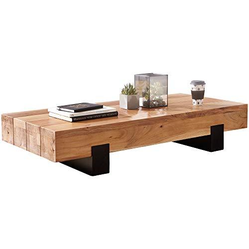 Wohnling SORON Table Basse en Bois d'acacia Massif et métal Design Moderne Marron/Noir 130 x 25 x 59 cm