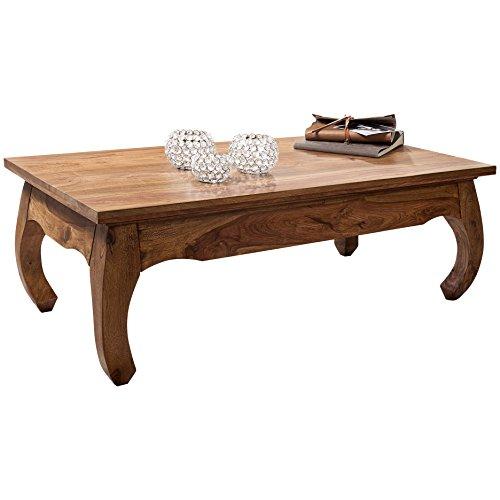Wohnling Couchtisch Opium Massiv-Holz Sheesham 110 cm breit Wohnzimmer-Tisch Design dunkel