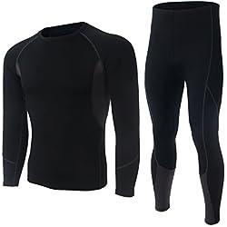 Skysper Ropa interior Termal Camiseta Térmica hombres manga larga Pantalones Largos para esquí, montaña, ciclismo,fitness