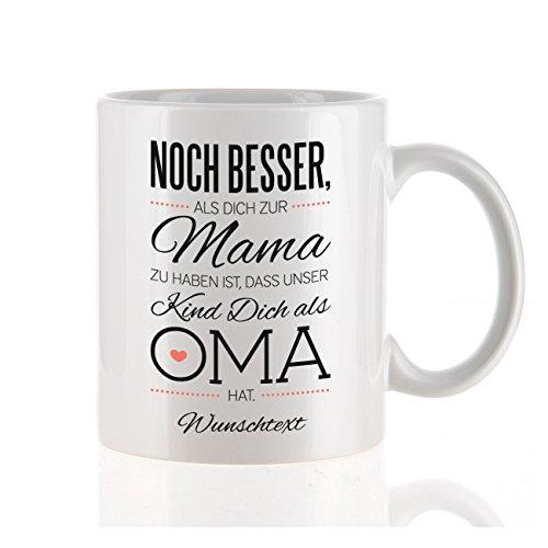Herz & Heim® moderne Kaffeetasse als Kompliment für die beste Oma mit Gratis Druck Ihres Wunschtextes unser Kind