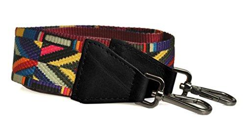 bandouliere-anse-pour-sac-a-main-synthetique-et-cuir-noir-motif-ethnique-graphique-made-in-italy