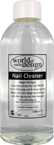 World of Nails-Design Nail Cleaner 99.9% Isopropanol kosmetisch, 1er Pack (1 x 500 ml)
