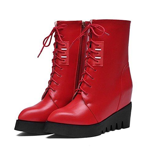 VogueZone009 Damen Schließen Zehe Blend-Materialien Niedrig-Spitze Hoher Absatz Stiefel Rot-Wedges FeQzL8