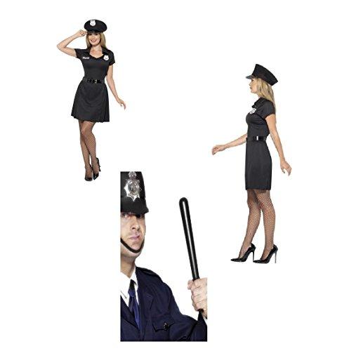 Constable Fancy Kleid Uniform Kostüm, schwarz, mit Kleid, Hut und Gürtel & Gratis Quietschgeräusche Schlagstock Hen Do/Karneval/Party Fun 45505,23918(UK Kleid/Festival/Fun Run 12–14(M)) (Räuber Kostüm Frauen)