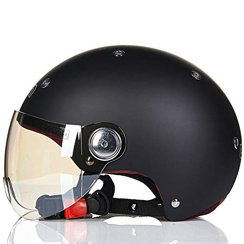 Berrd Motorradhelm Männer und Frauen Vier Jahreszeiten halben Helm bedeckt Elektromotor Auto Helm niedlich Licht Sommer Sonnencremefahrad Helm m?dchen