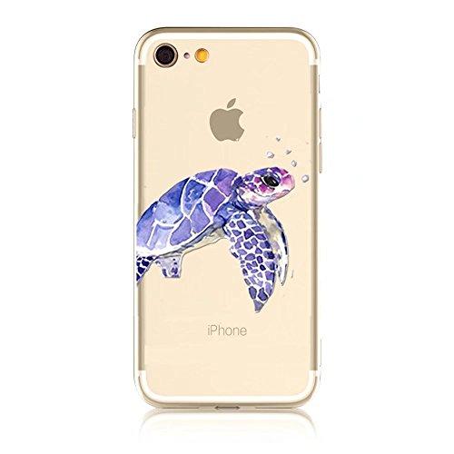 iPhone SE Hülle, MOMDAD Transparent Malerei [Cartooon Fisch Fish Serie] Handyhülle für iPhone SE 5S 5 Handytasche Ultra Thin Crystal TPU Silikon Pattern Muster Weich Rückseite Case Cover mit Anti-Krat Color 6
