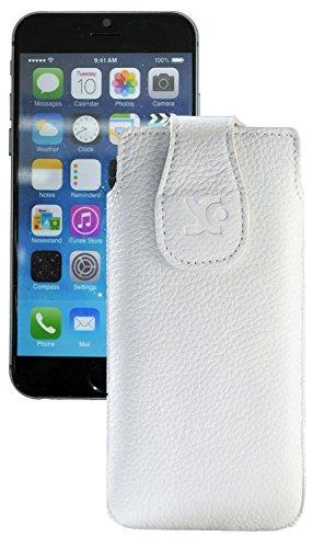 """Original Suncase Tasche für iPhone 7 / 6 / 6S (4.7"""") Leder Etui Handytasche Ledertasche Schutzhülle Case Hülle / in croco-braun vollnarbig-weiss"""