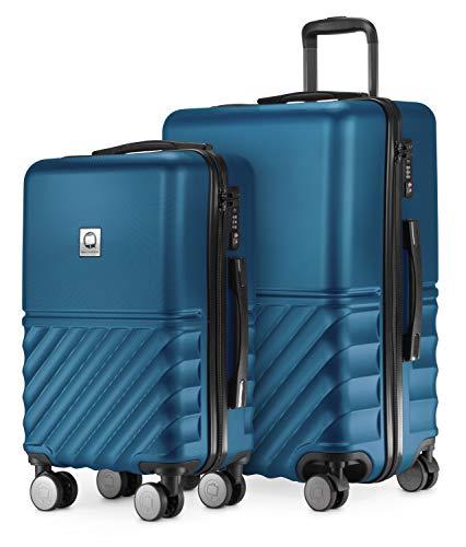 HAUPTSTADTKOFFER - Boxi - 2er Kofferset Trolley-Set Rollkoffer Reisekoffer Handgepäck und mittelgroßer Koffer (55/65 cm), ABS-Hartschale TSA, 4 Spinner-Doppelrollen, Dunkelblau