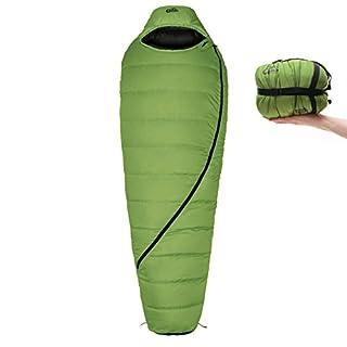 Qeedo Daunen-Schlafsack Asaka (2 Größen: M & L) / 6°C Komforttemperatur (3-Saison) / Mumienschlafsack extrem klein & leicht (Gr.M: 850g) / inkl. Kompressionssack + Aufbewahrungstasche - grün [Large]