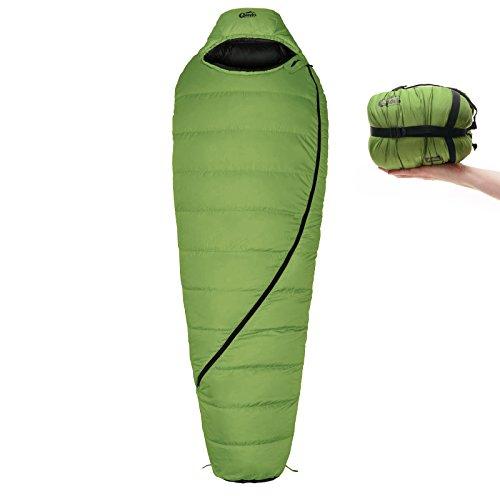 Qeedo Asaka Daunen-Schlafsack (2 Größen: M & L) / 6°C Komforttemperatur (3-Saison) / Mumienschlafsack extrem klein & leicht (Gr.M: 850g) / inkl. Kompressionssack + Aufbewahrungstasche - grün [Large]