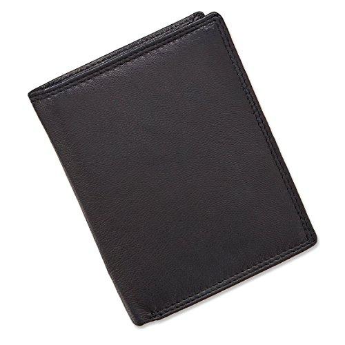 Herren Geldbörse Portemonnaie Brieftasche Geldbeutel Hochformat echt Leder schwarz