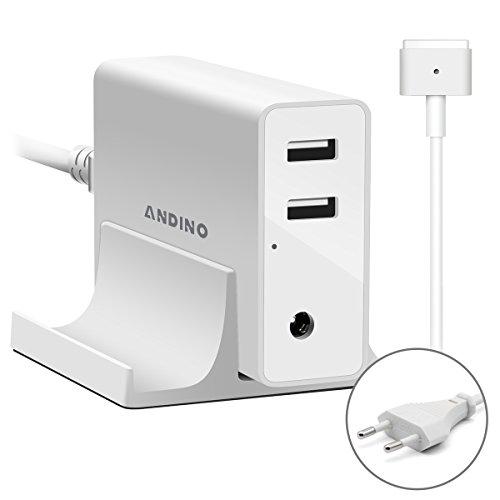 Andino 60W Ladegerät Netzteil für Apple MacBook Magsafe 2 Power Adapter mit 2-Port USB für Smart Handys ,IPAD, Iphone mit T Form