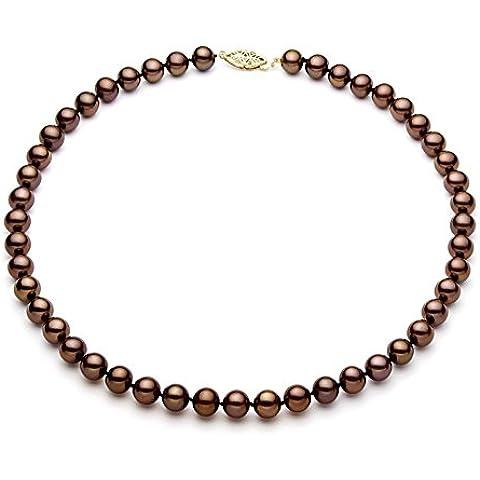 14 K amarillo Classic cacao y perla cultivada collar con colgante en forma calidad AAA (6 -  6 de