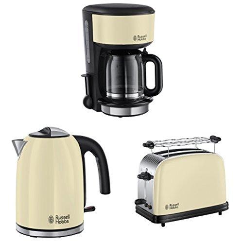 Russell Hobbs Frühstücksset Colours Plus+ Classic Cream Glas Kaffeemaschine + Wasserkocher + Toaster