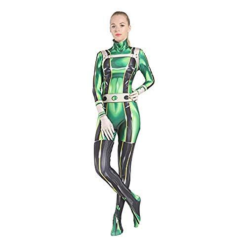 College Superhelden Kostüm - Karneval Anzüge Frosch weht Pflaume Regen Kleidung Anime Kostüme My Hero College Cosplay Kostüm voller Satz von Kleidung Strumpfhosen Erwachsene Halloween Cosplay Erwachsener-M,Halloween Anzug