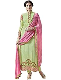 Stylish Fashion Pista Embroidered Women's Georgette Straight Salwar Suit