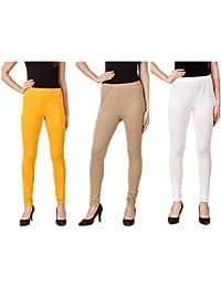 Svadhaa White Yellow Skin Cotton Lycra Leggings(Pack Of 3)