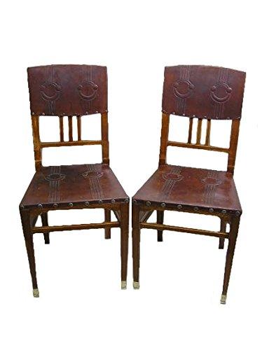 Paar Jugendstil Stühle, um 1905, in Nußbaum, Josef Maria Olbrich